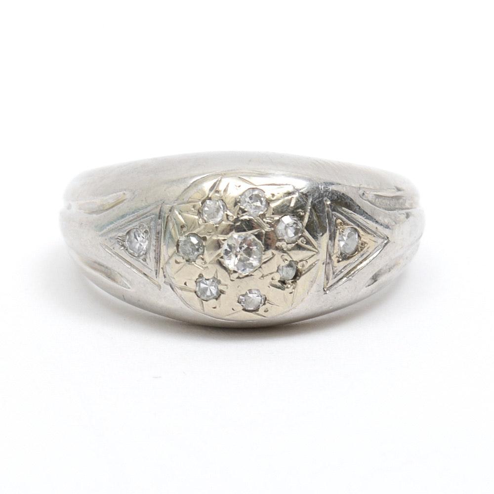 Vintage Retro Era Platinum and Old Mine Cut Diamond Dome Ring