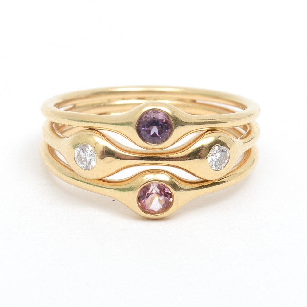 Pandora 18K Yellow Gold, Diamond, Pink Spinel, and Amethyst Harem Ring