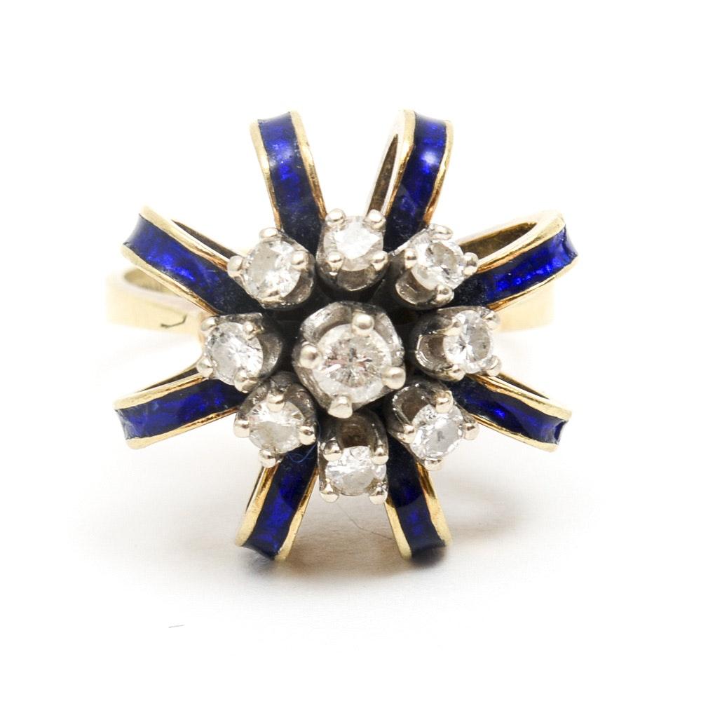 Vintage 14K Yellow Gold, Diamond and Blue Enamel Royal Crown Cocktail Ring