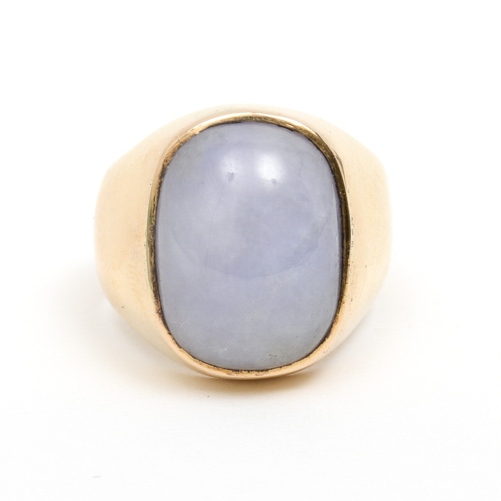 Men's 14K Yellow Gold and Lavender Jadeite Jade Ring