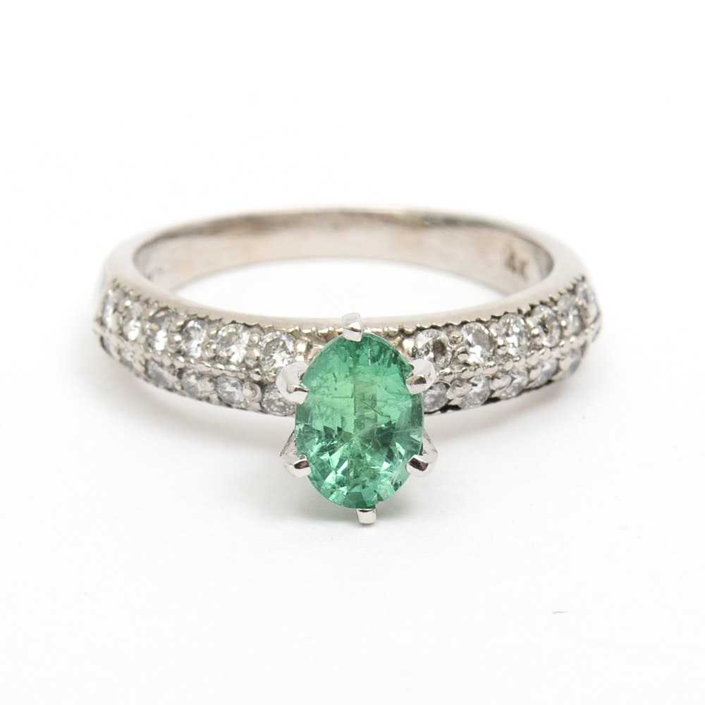 14K White Gold, Synthetic Emerald, and Diamond Engagement Ring