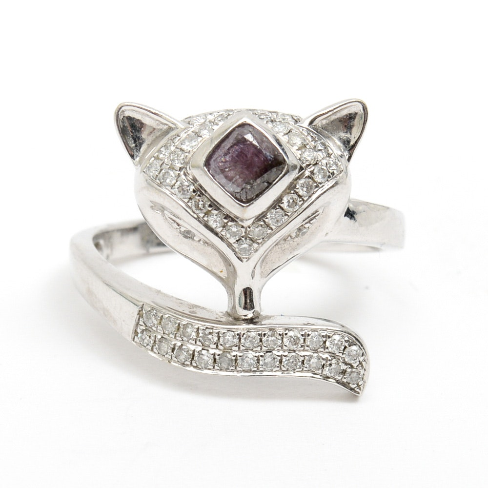 14K White Gold and Diamond Fox Bypass Ring