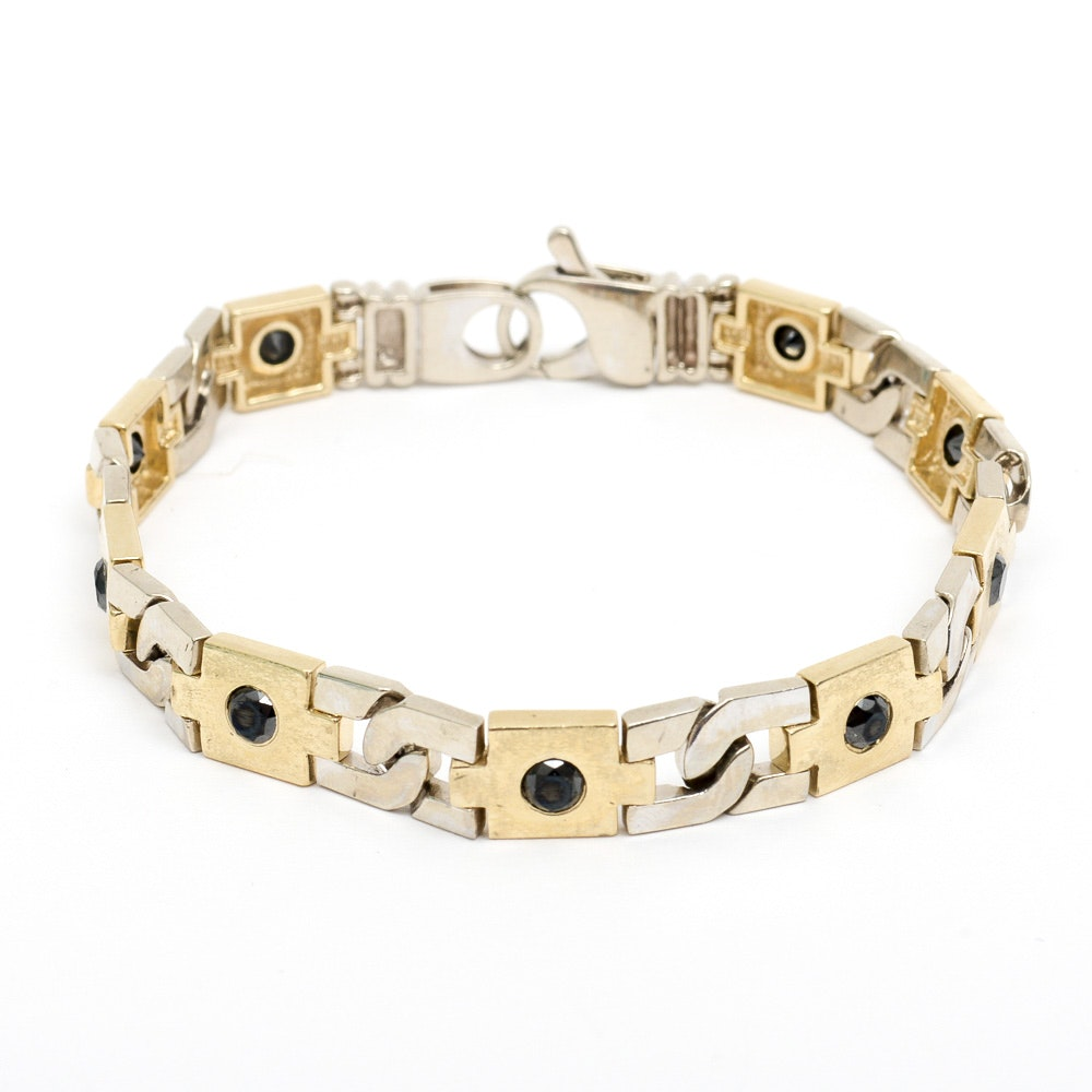 Vintage 14K Two-Tone Gold and 1.35 CTW Black Diamond Link Bracelet