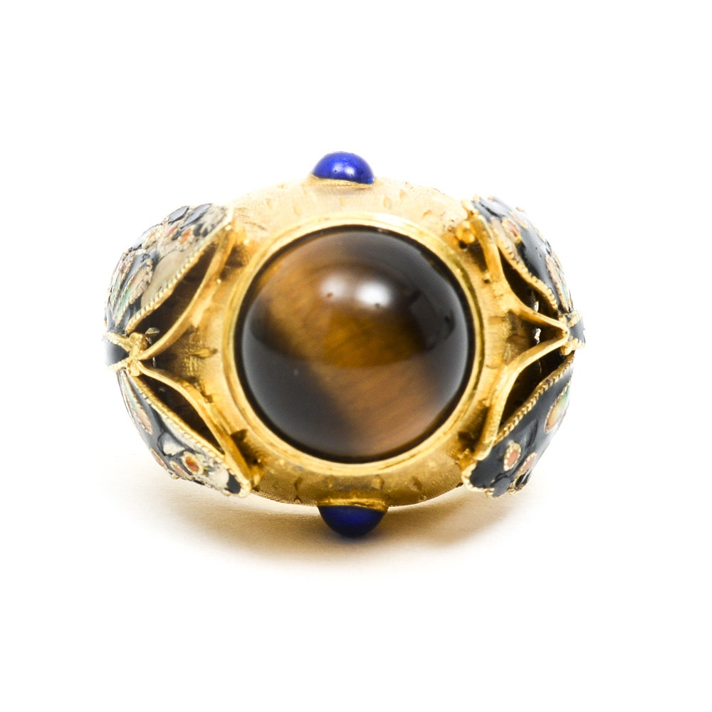 14K Yellow Gold, Tiger's Eye and Enamel Dome Statement Ring