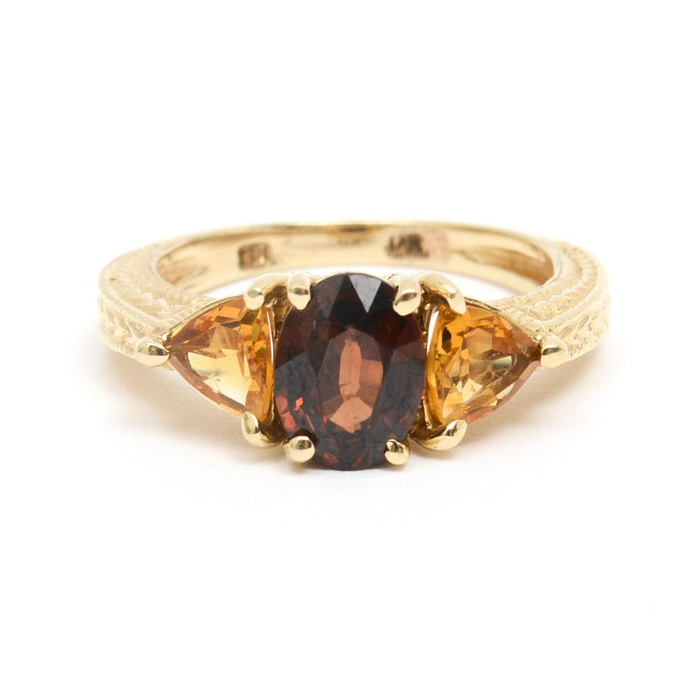 14K Yellow Gold, Orange Topaz, and Citrine Three Stone Ring