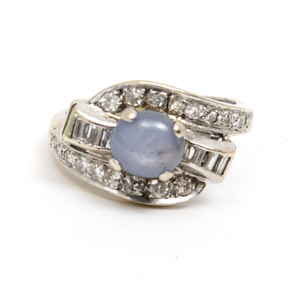 Platinum, Star Sapphire and Diamond Bypass Ring