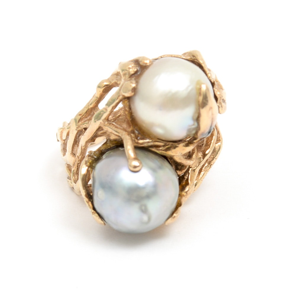 14K Yellow Gold and Freshwater Pearl Tree Branch Twin Ring