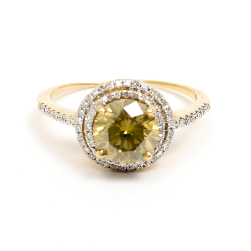 14K Yellow Gold and 2.65 CTW Diamond Halo Ring