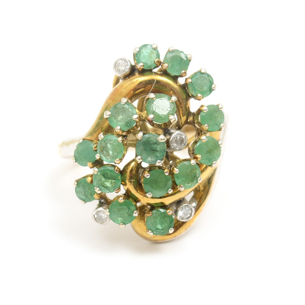 14K Yellow Gold, Emerald, and Diamond Swirl Ring