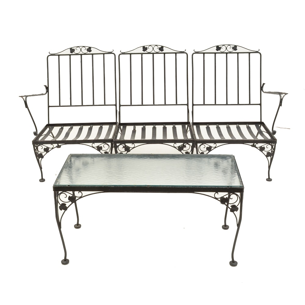 Sectional Wrought Iron Patio Settee And Coffee Table