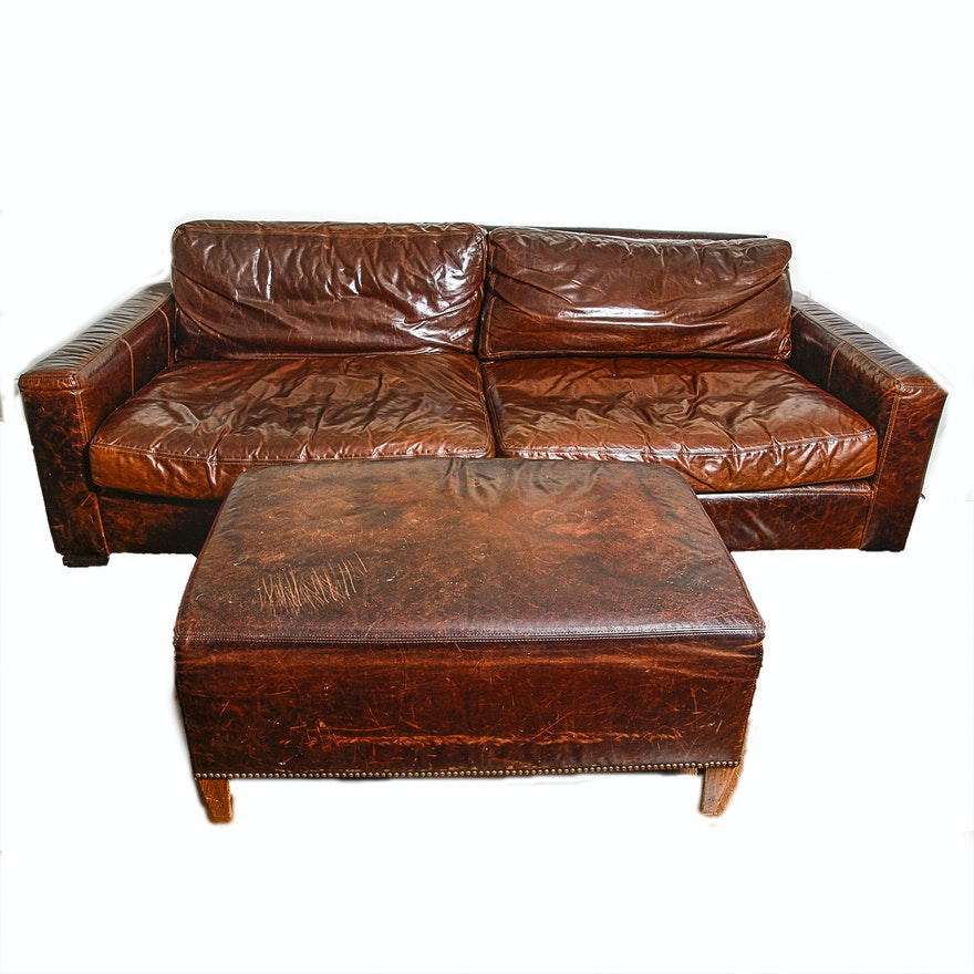 Restoration Hardware Leather Sofa With Ottoman