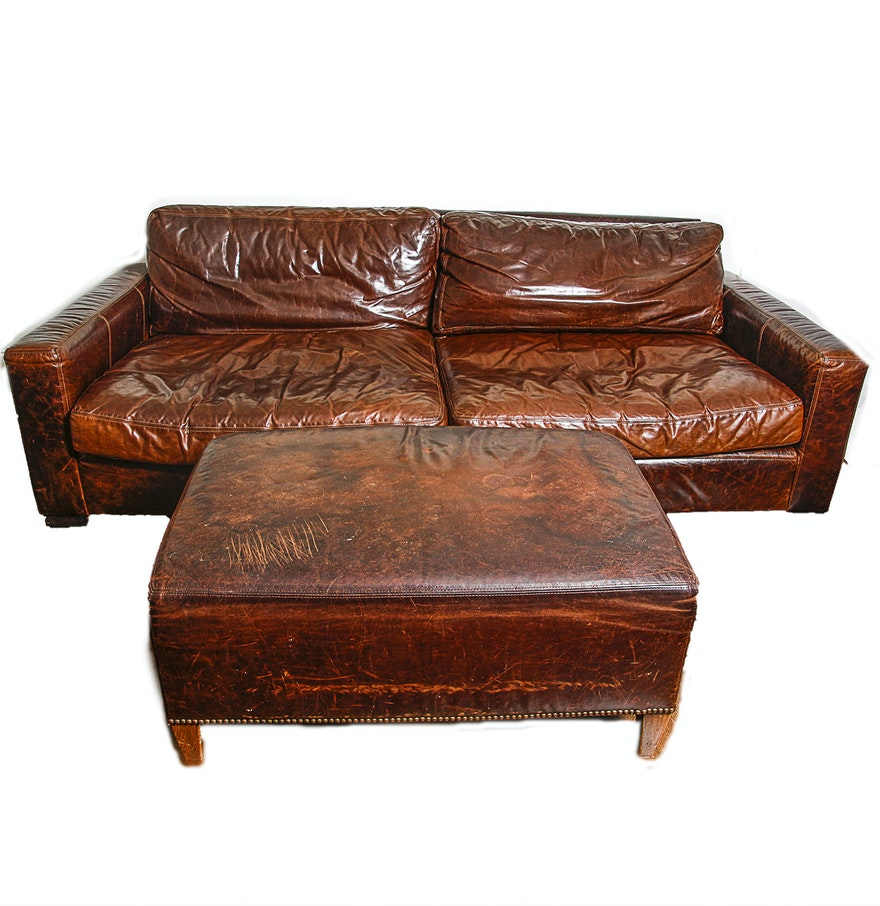 Restoration Hardware Leather : Restoration hardware leather sofa with ottoman ebth