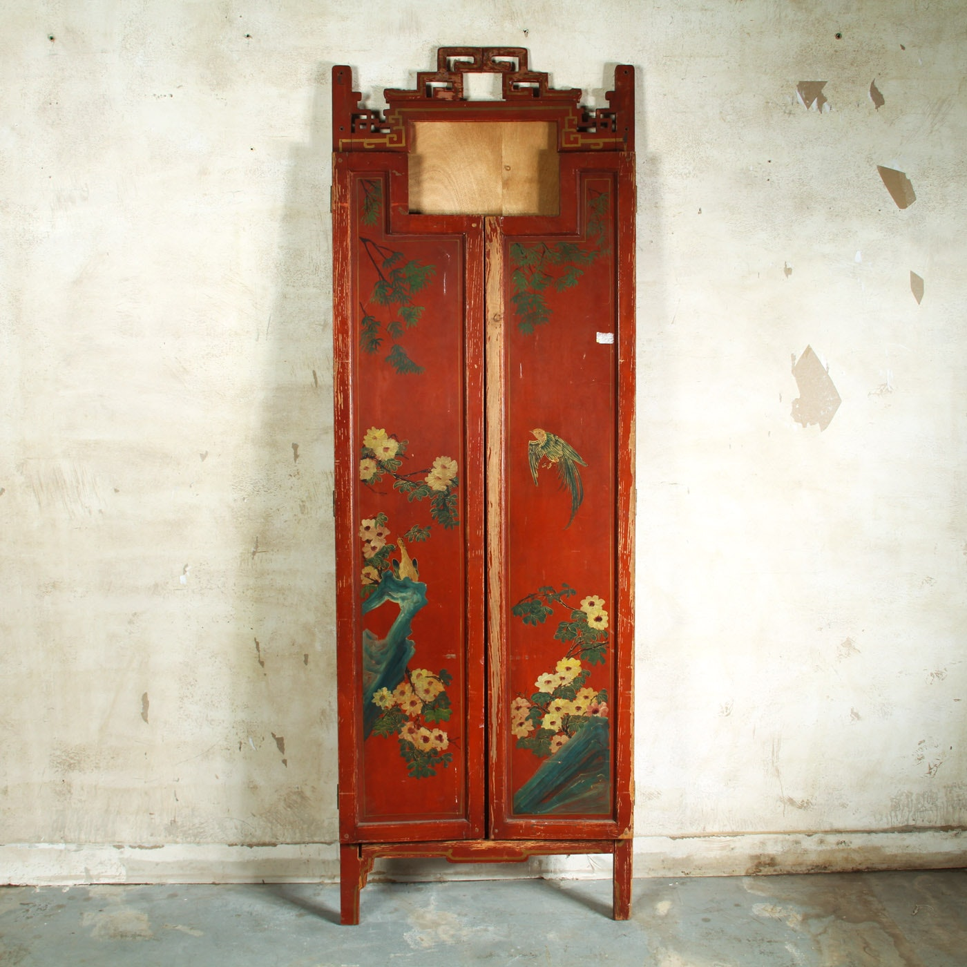 Antique Chinese Style Wooden Tri-Fold Mirror Frame