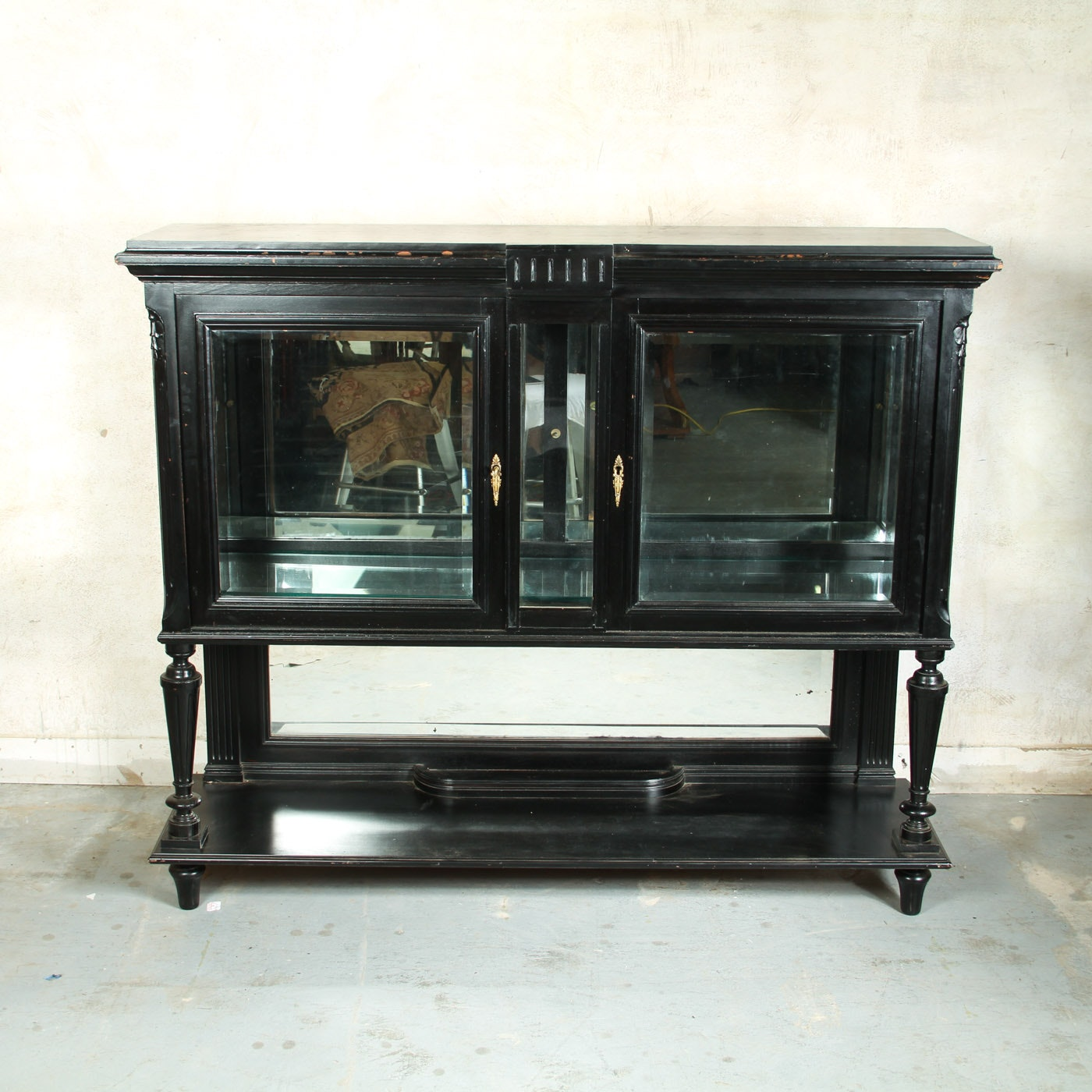 Antique Lacquered Wooden Curio Cabinet