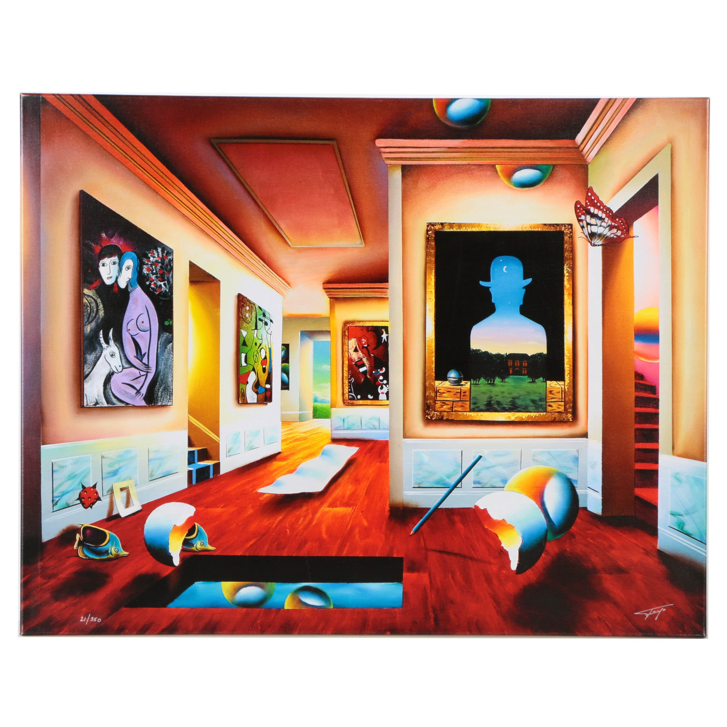 """Ferjo Signed Limited Edition Giclée on Canvas """"Interior with Magritte"""""""