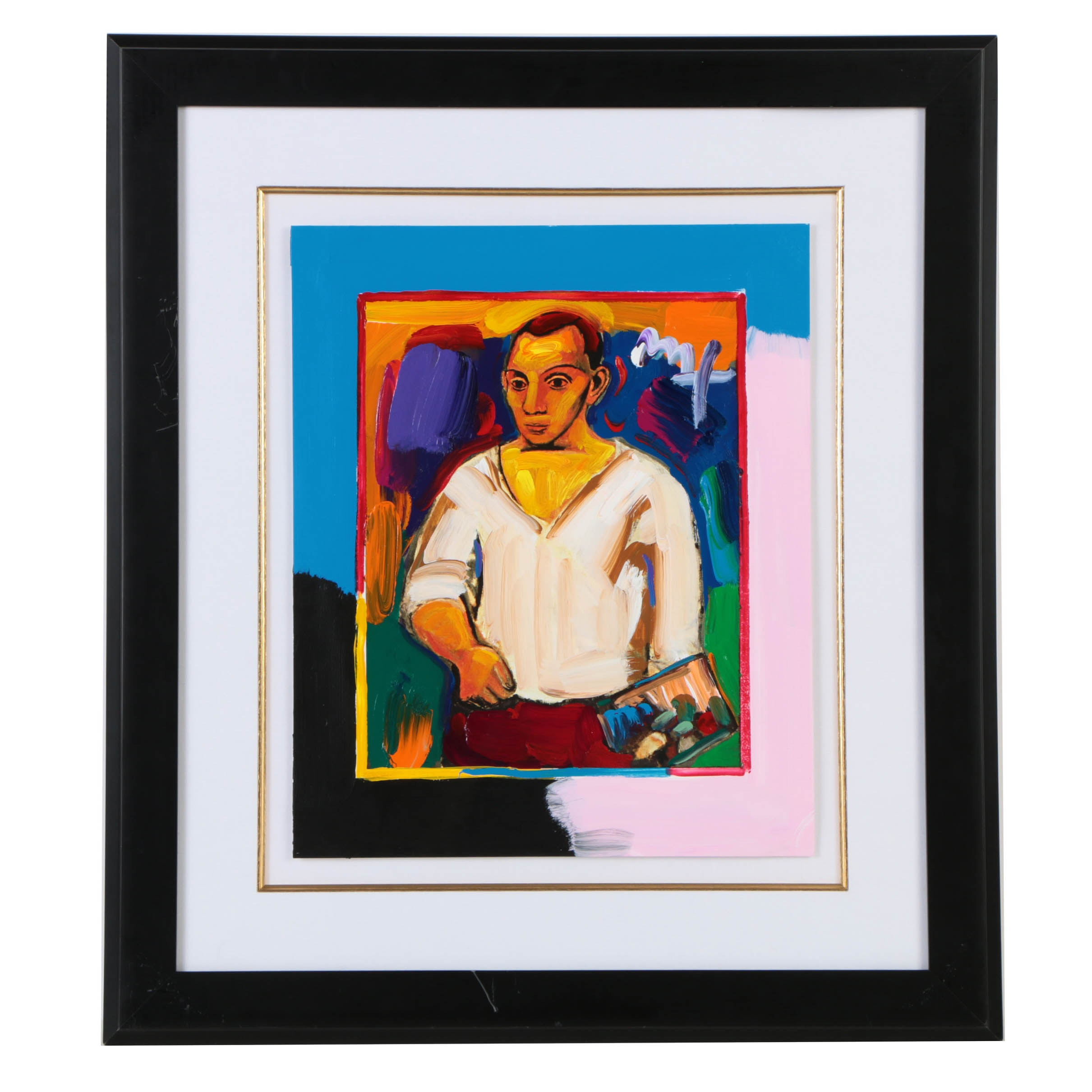 """Peter Max Giclee with Acrylic Embellishments After """"Portrait of Pablo Picasso: Young Picasso"""""""