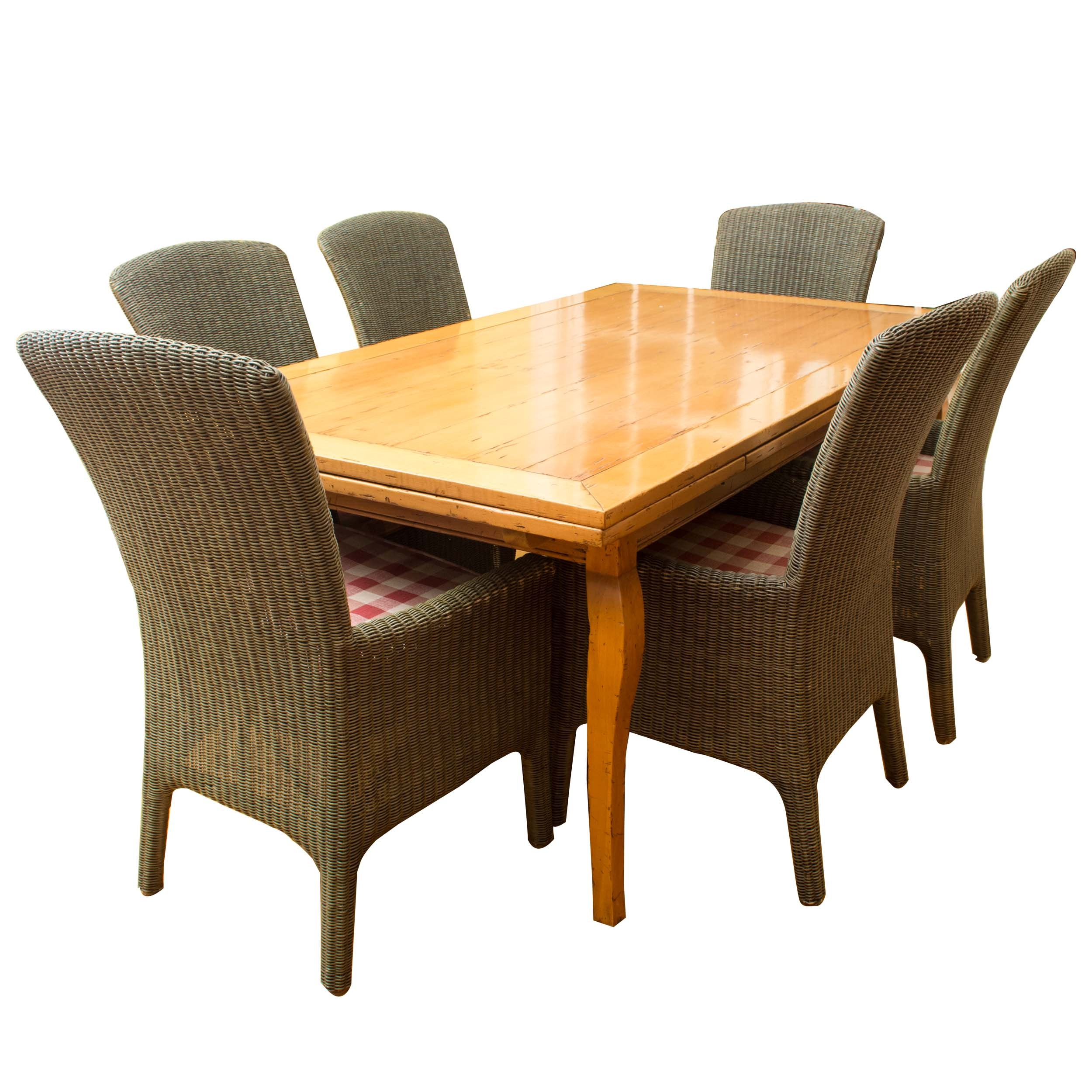 Contemporary Wooden Dining Table with Wicker Side Chairs
