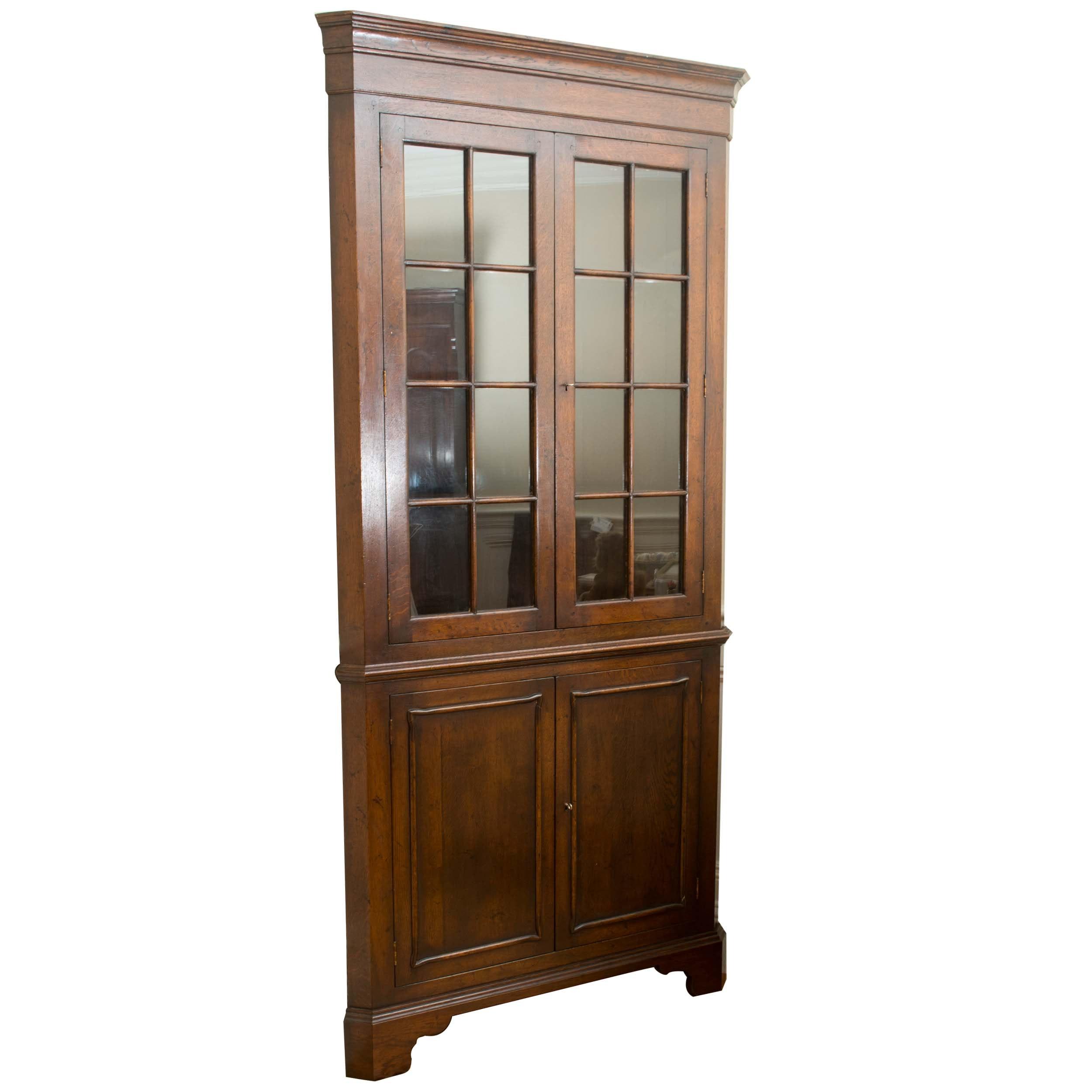 Vintage Oak Corner China Cabinet