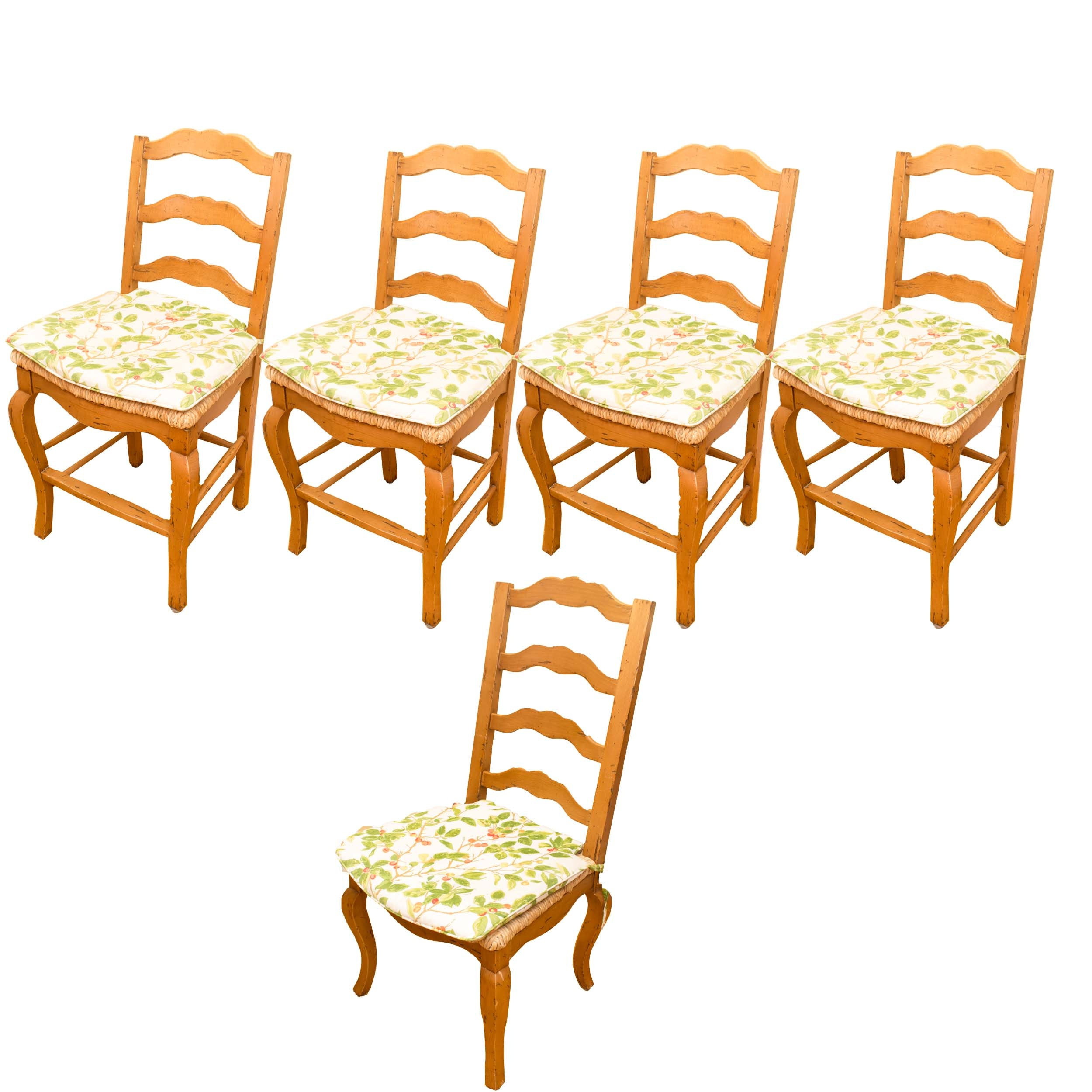 Collection of Five Rush Seat Ladderback Chairs