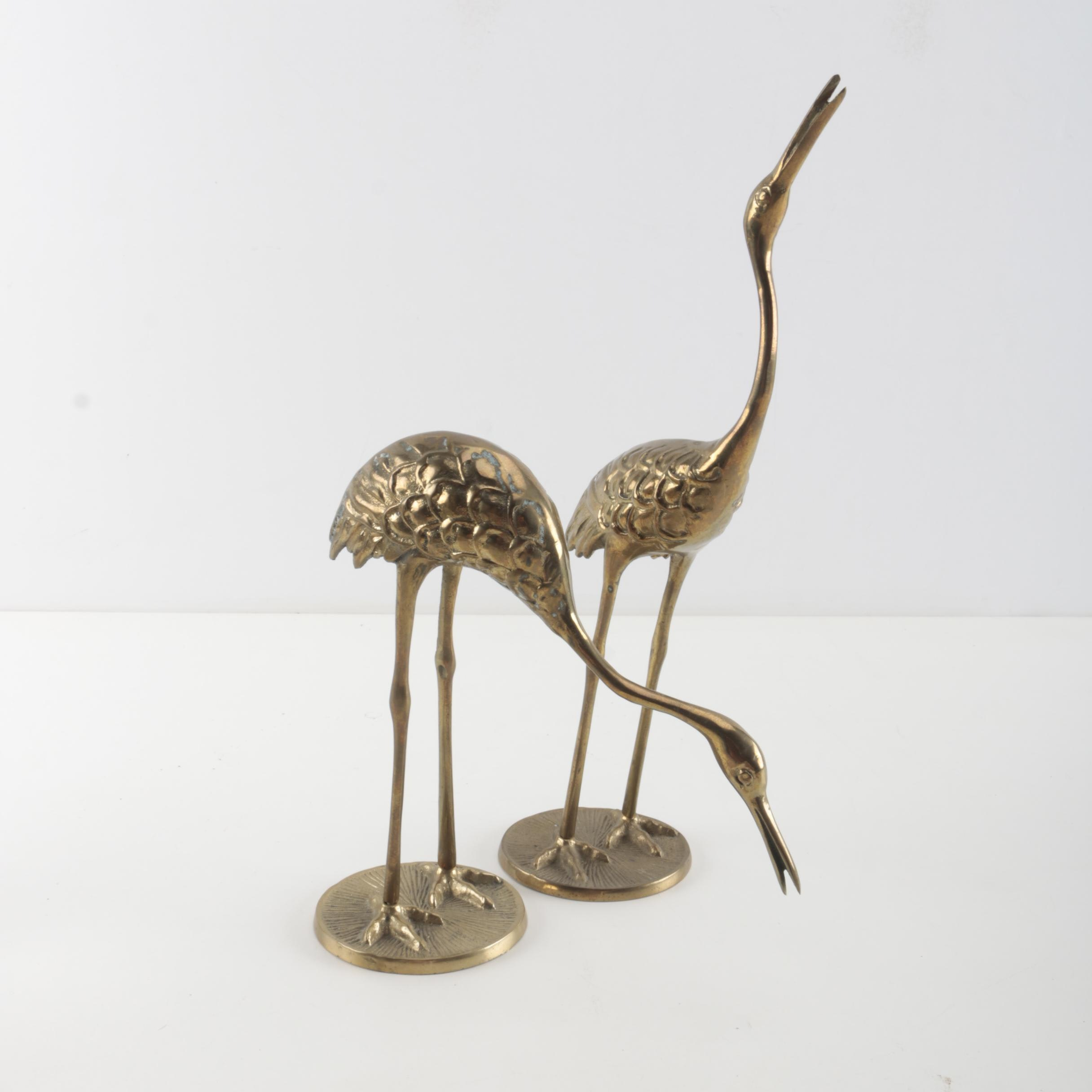 Pair of Bronze Crane Figurines
