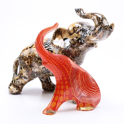 Artisan Pattern Elephant Figurines