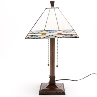 Candlestick Style Table Lamp With Stained Glass Shade