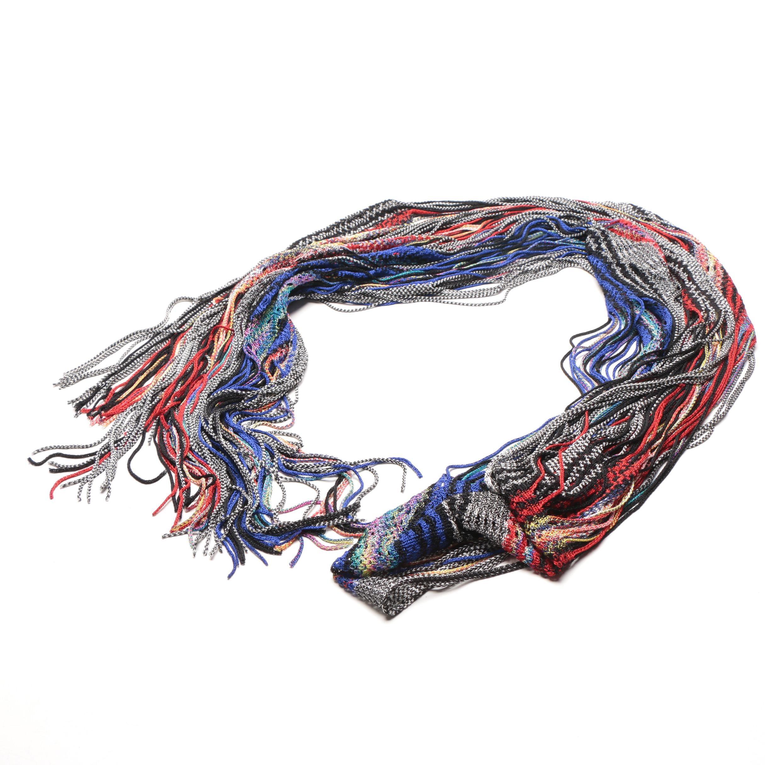 Missoni Multi Color Striped Knit Scarf