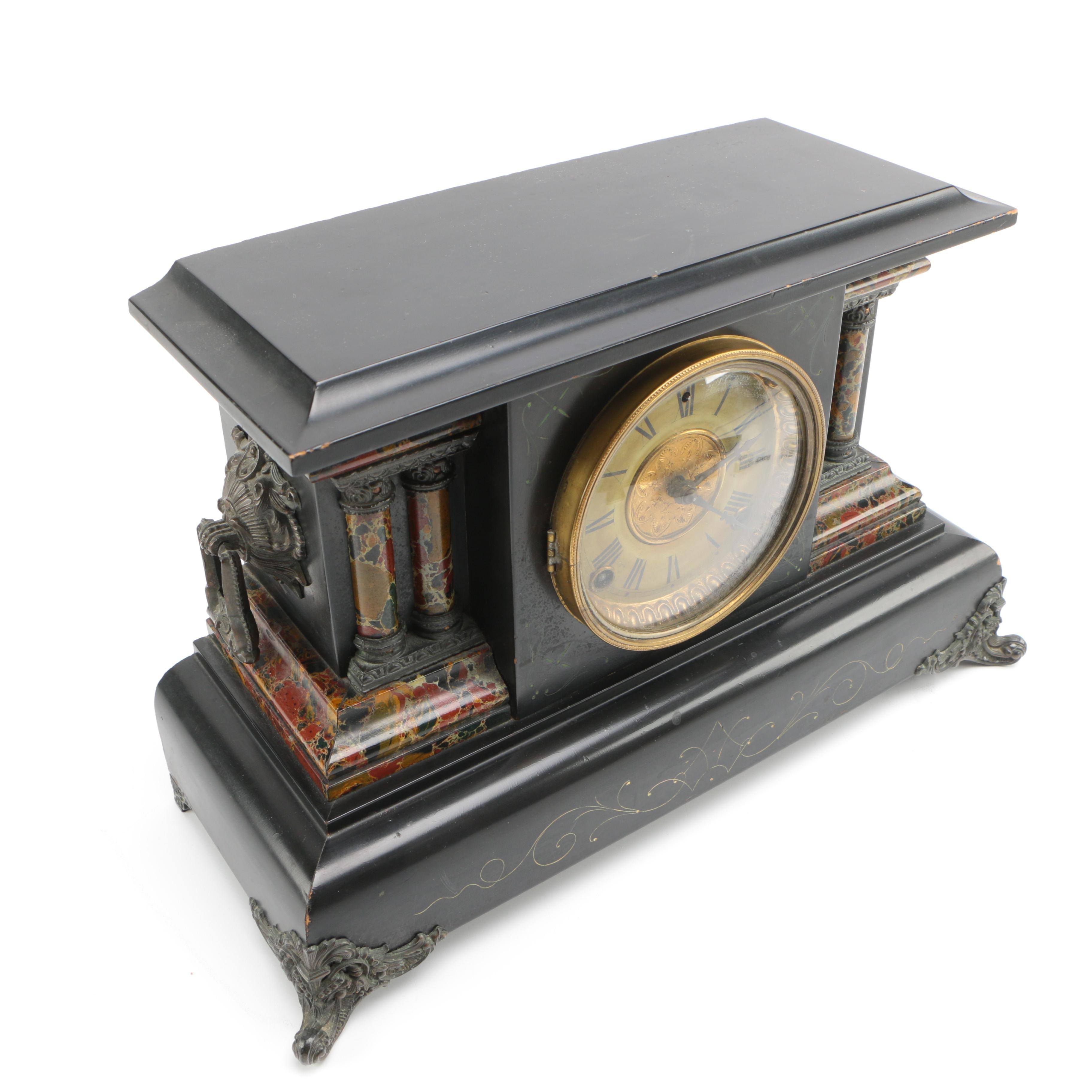 Antique Wood and Metal Eight Day Mantel Clock