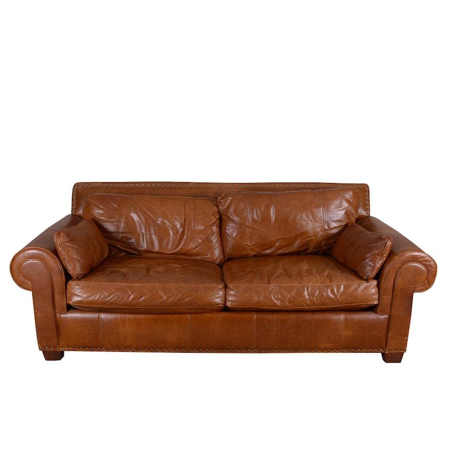 bernhardt cognac leather sleeper sofa ebth. Black Bedroom Furniture Sets. Home Design Ideas