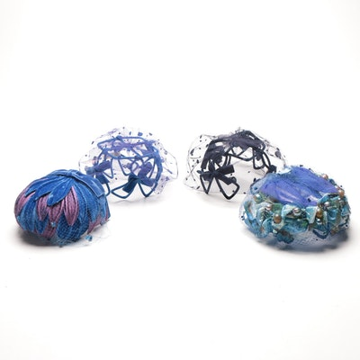 Vintage Blue Netted Headpieces