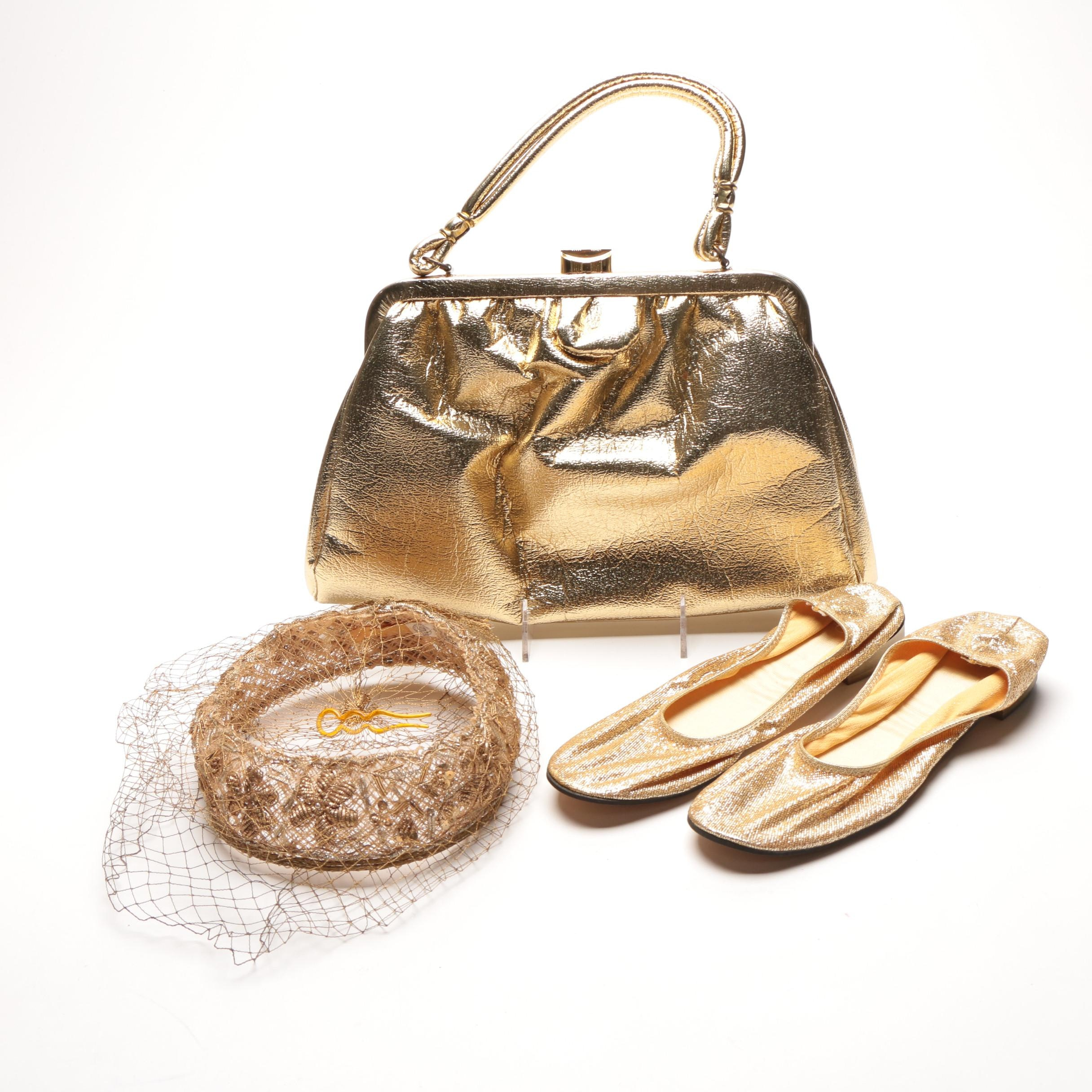 Metallic Gold Tone Vintage Purse, Hat, and Shoes