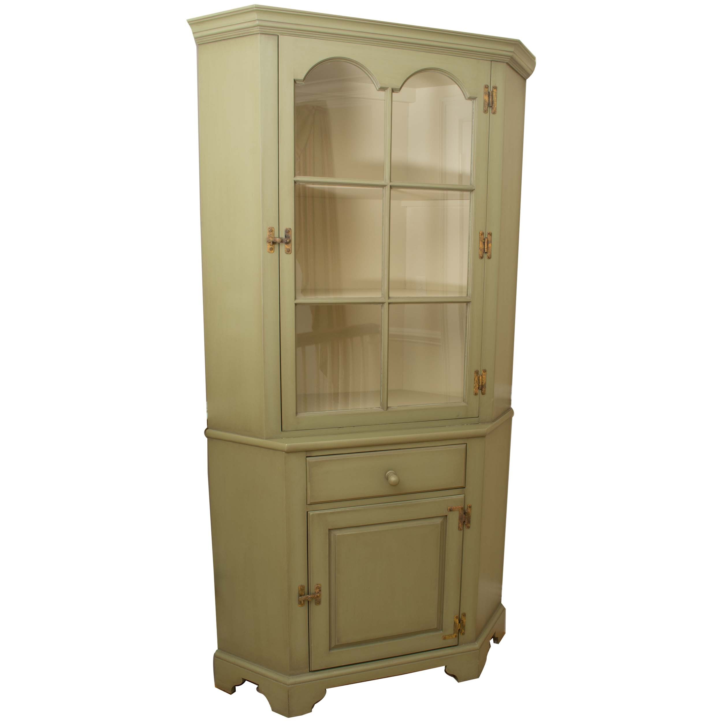 Green Pine Corner Display Cabinet