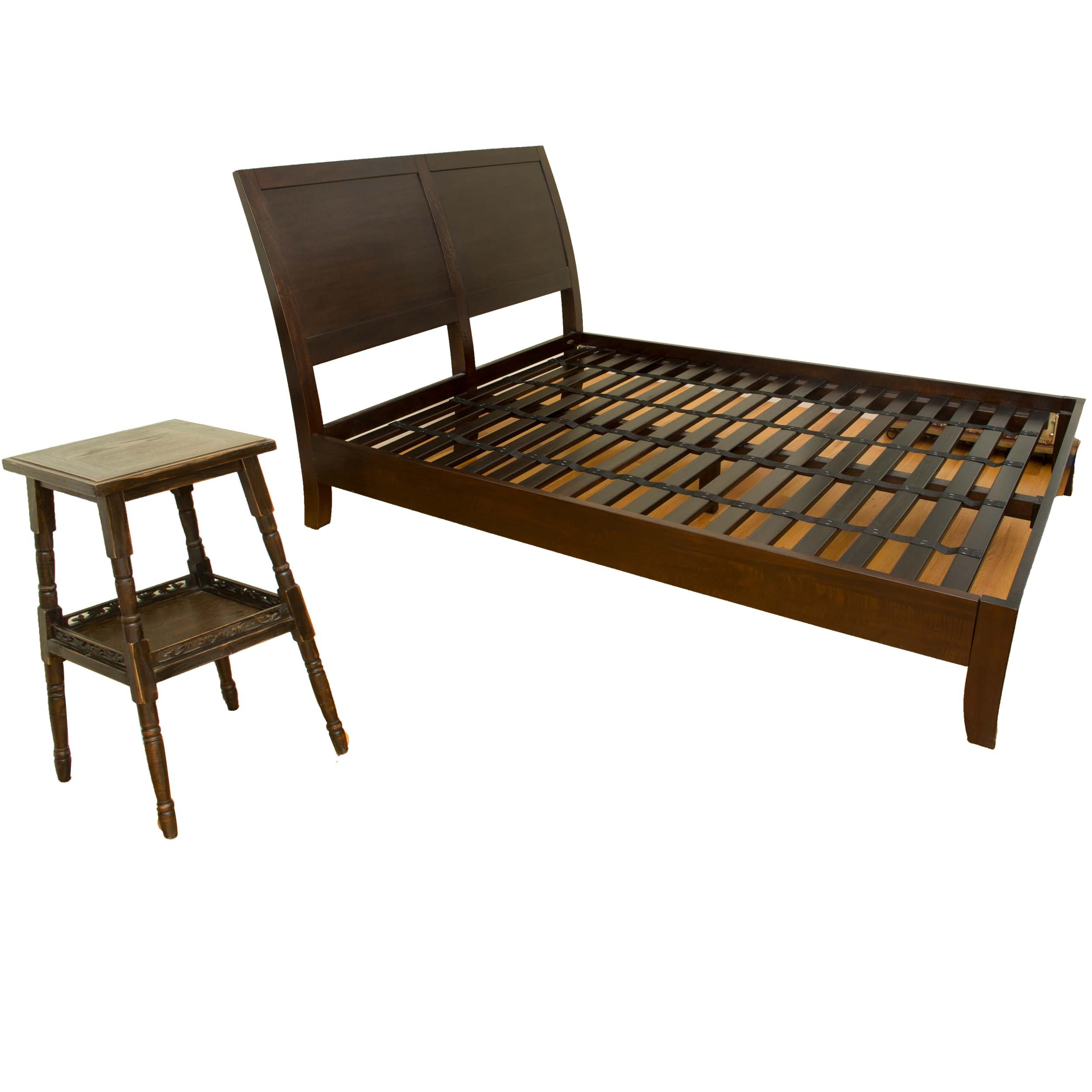 Platform Bed and Side Table in Walnut Stain