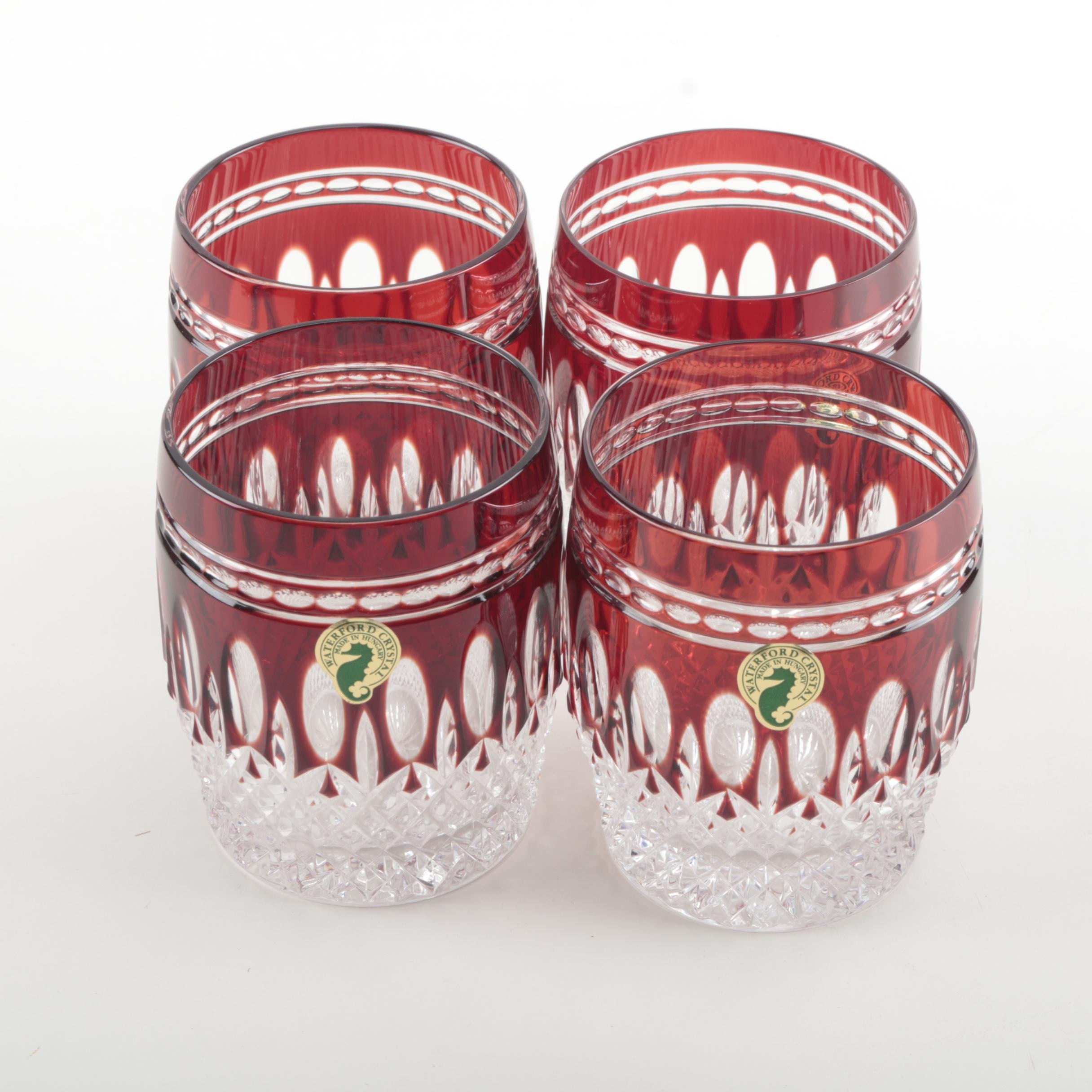 """Waterford """"Clarendon Ruby"""" Crystal Double Old Fashioned Glasses"""