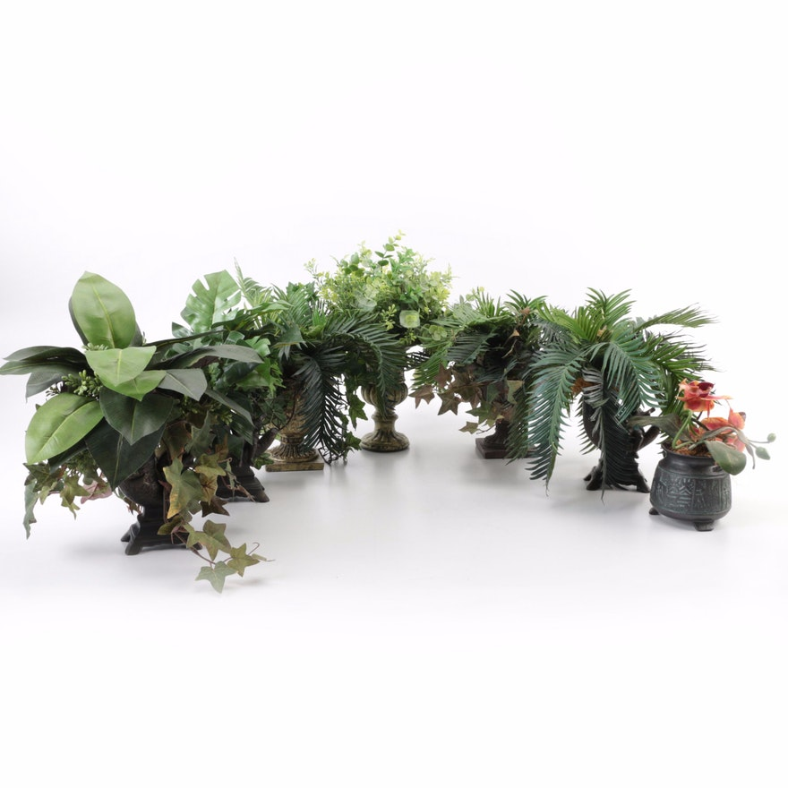 Decorative Urns With Artificial Plants Ebth