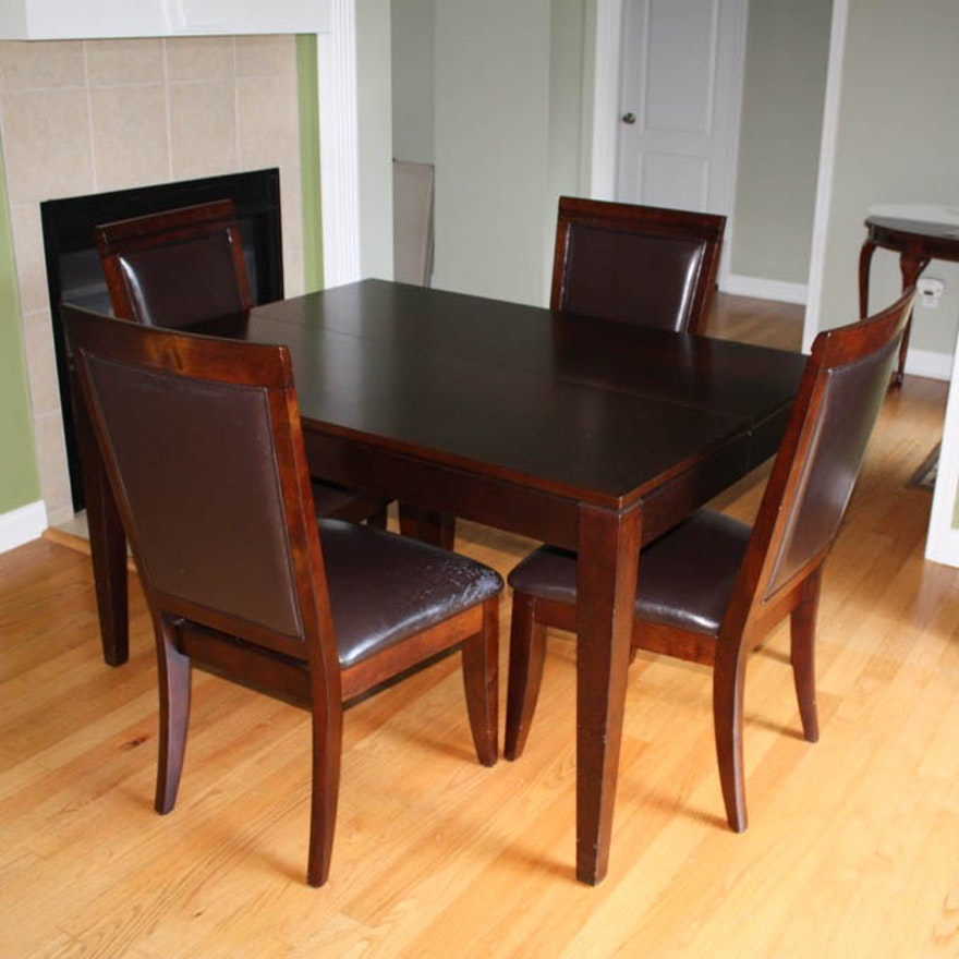 Dining Table With Self Storing Erfly Leaf And Chairs