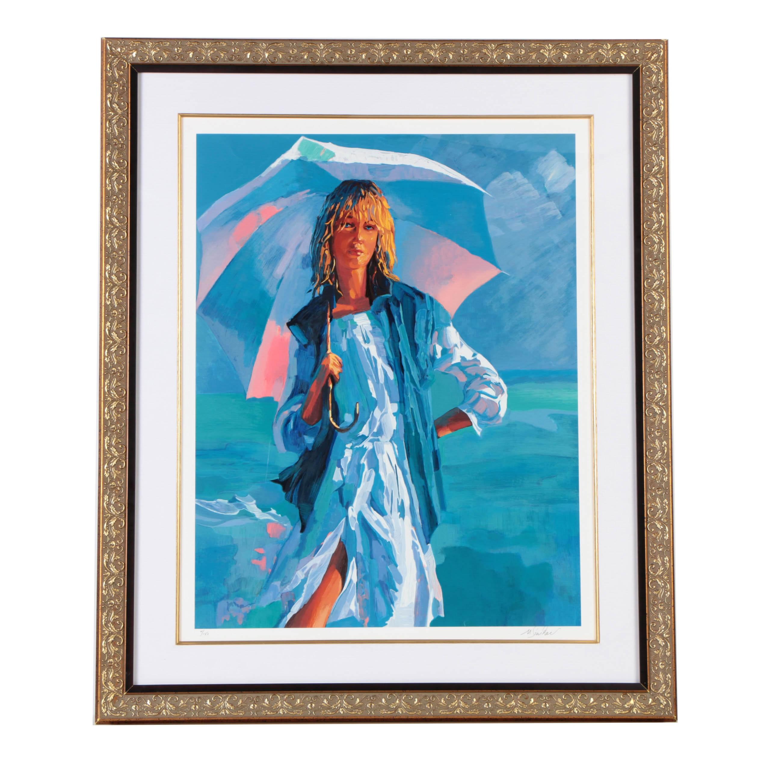 "Nicola Simbari Limited Edition Serigraph on Paper ""El Parasol"""