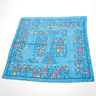 Lanvin Blue Geometric Silk Scarf