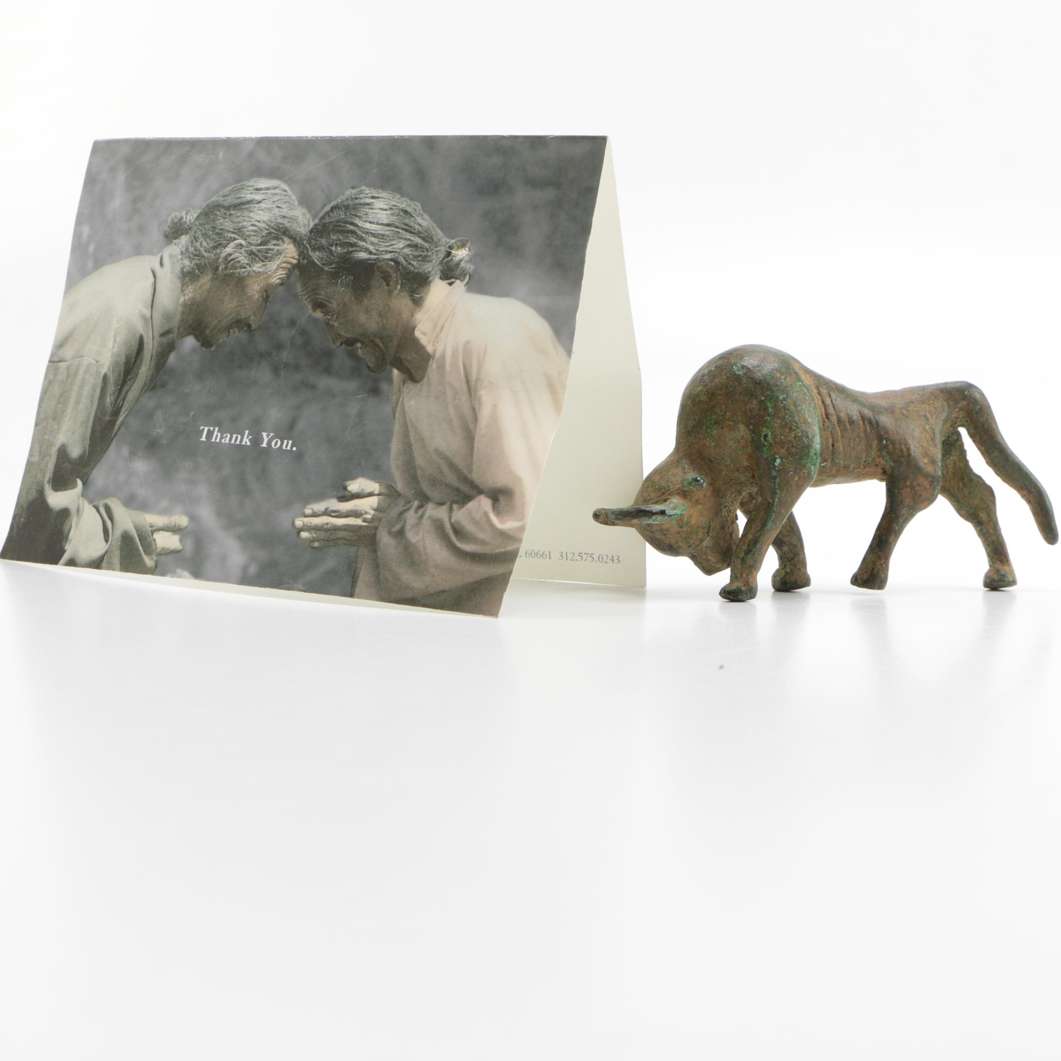 Ashanti Tribal Bronze Bull Figurine