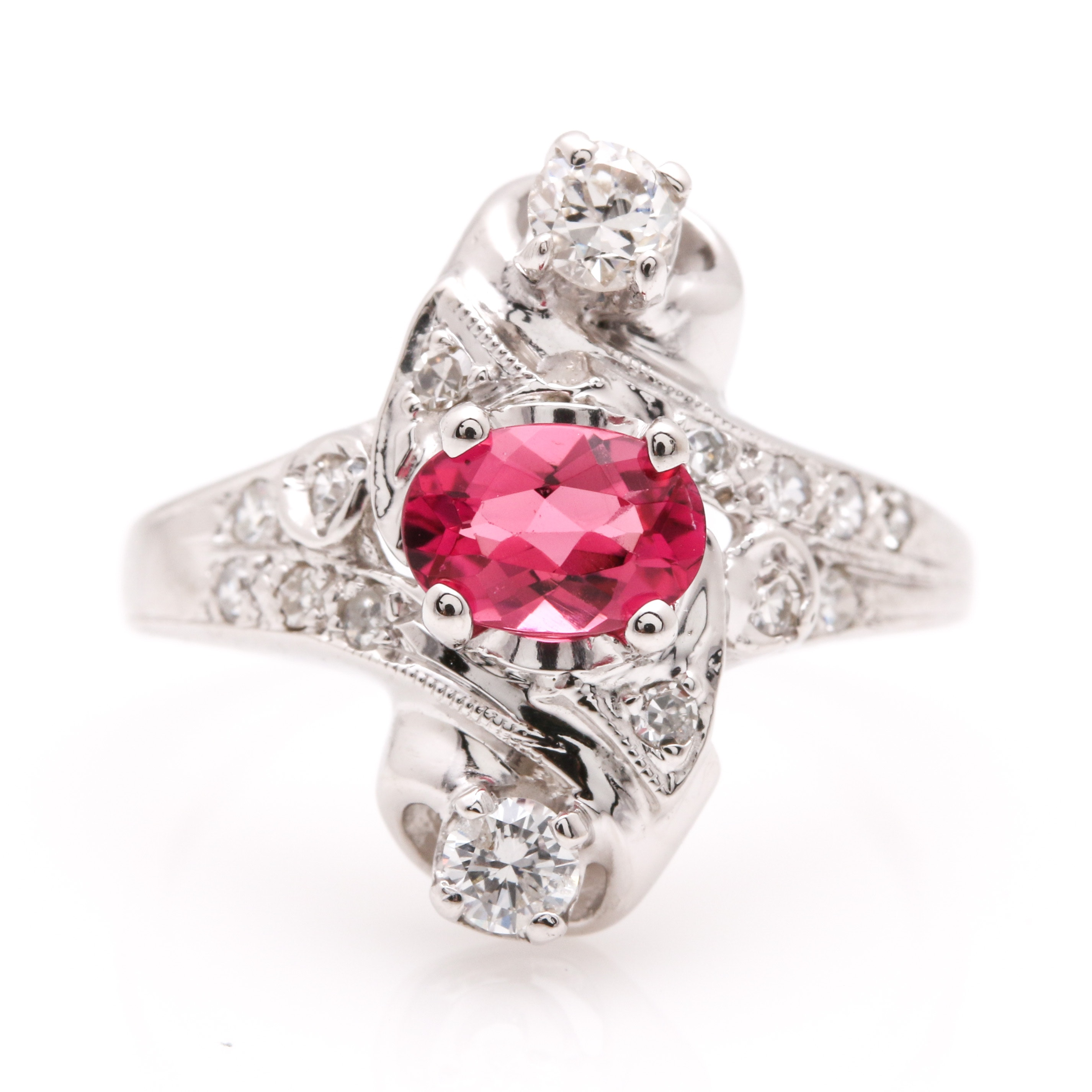14K White Gold Hot Pink Tourmaline and Diamond Ring