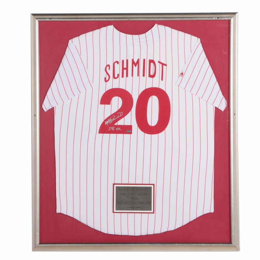 Framed Mike Schmidt Autographed Phillies Jersey : EBTH