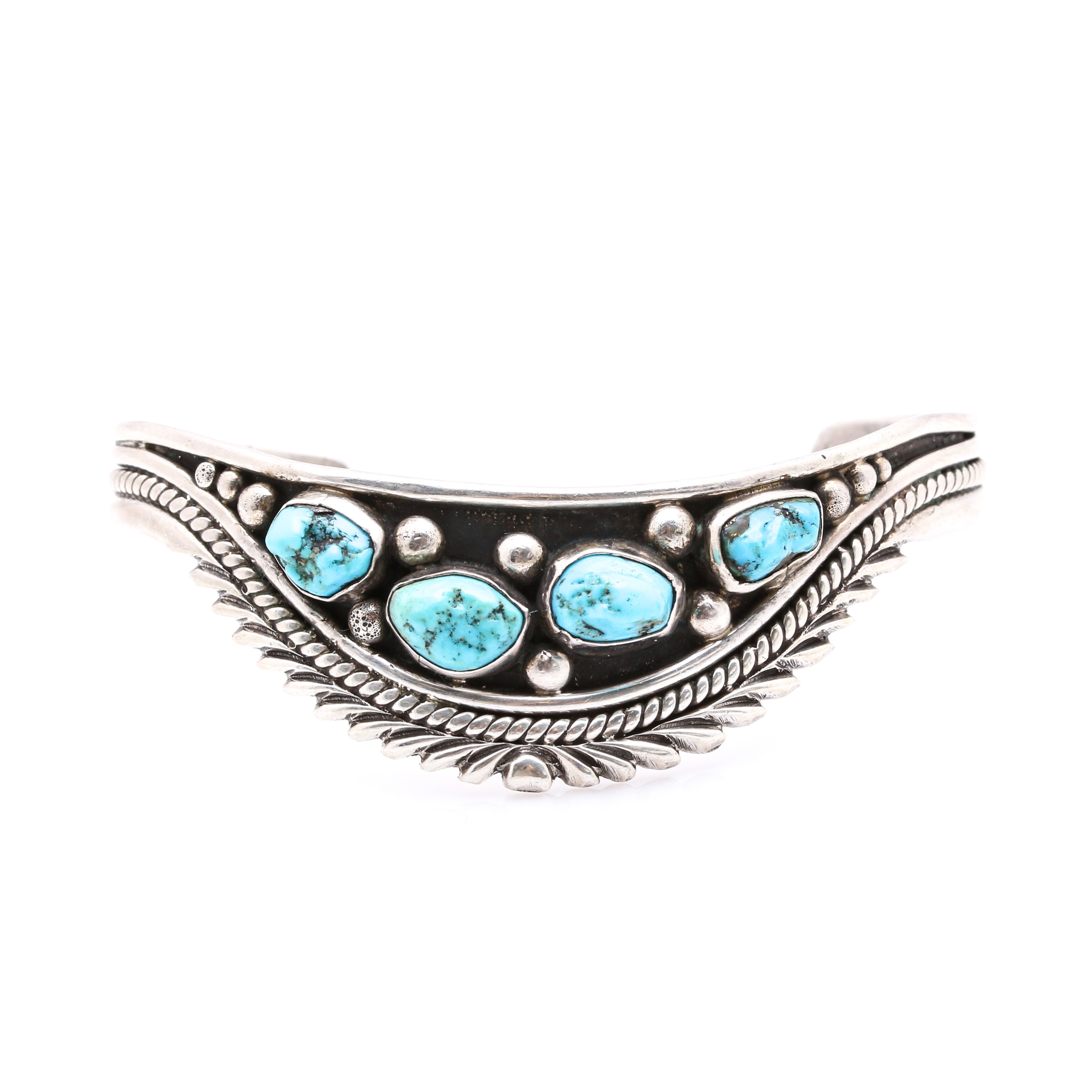 David K. Lister Navajo Sterling Silver Turquoise Cuff