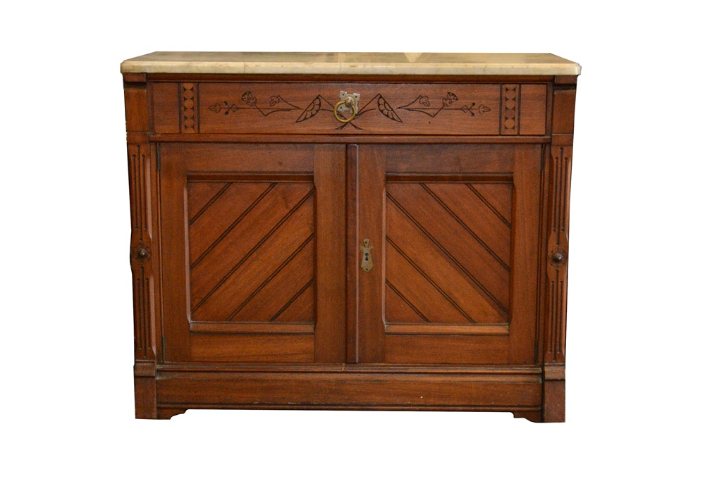 Eastlake Style Marble Top Cabinet