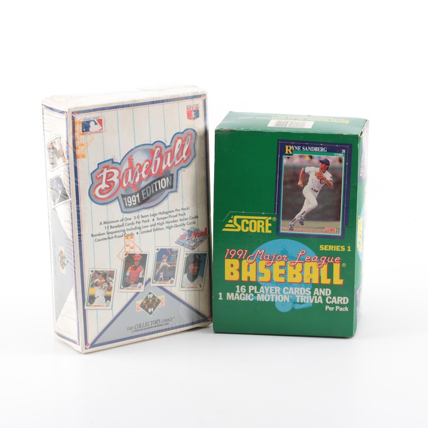 1991 Upper Deck And Score Baseball Card Boxes Of Unopened Packs