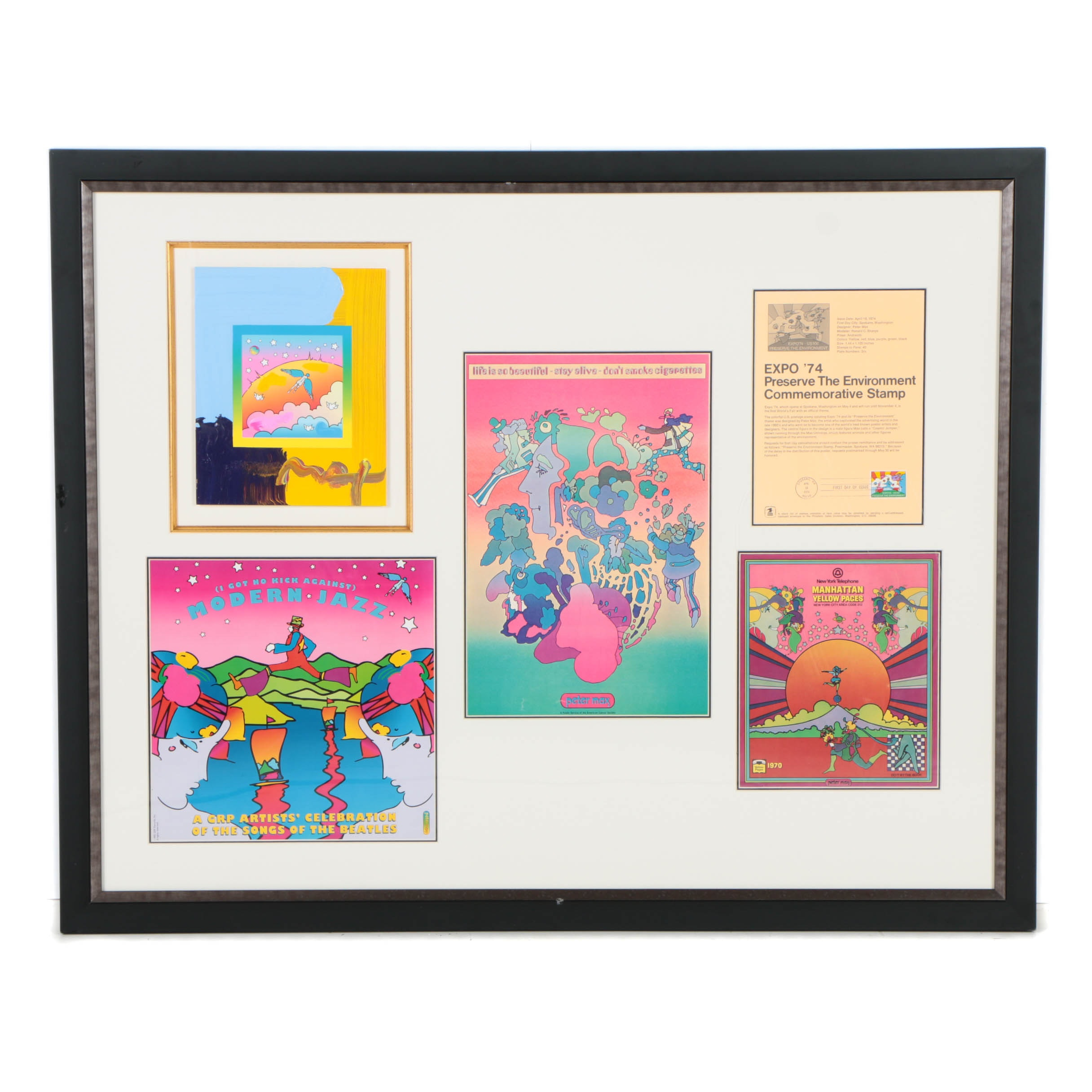 Peter Max Mixed Media Collage on Paper with Stamp and Posters