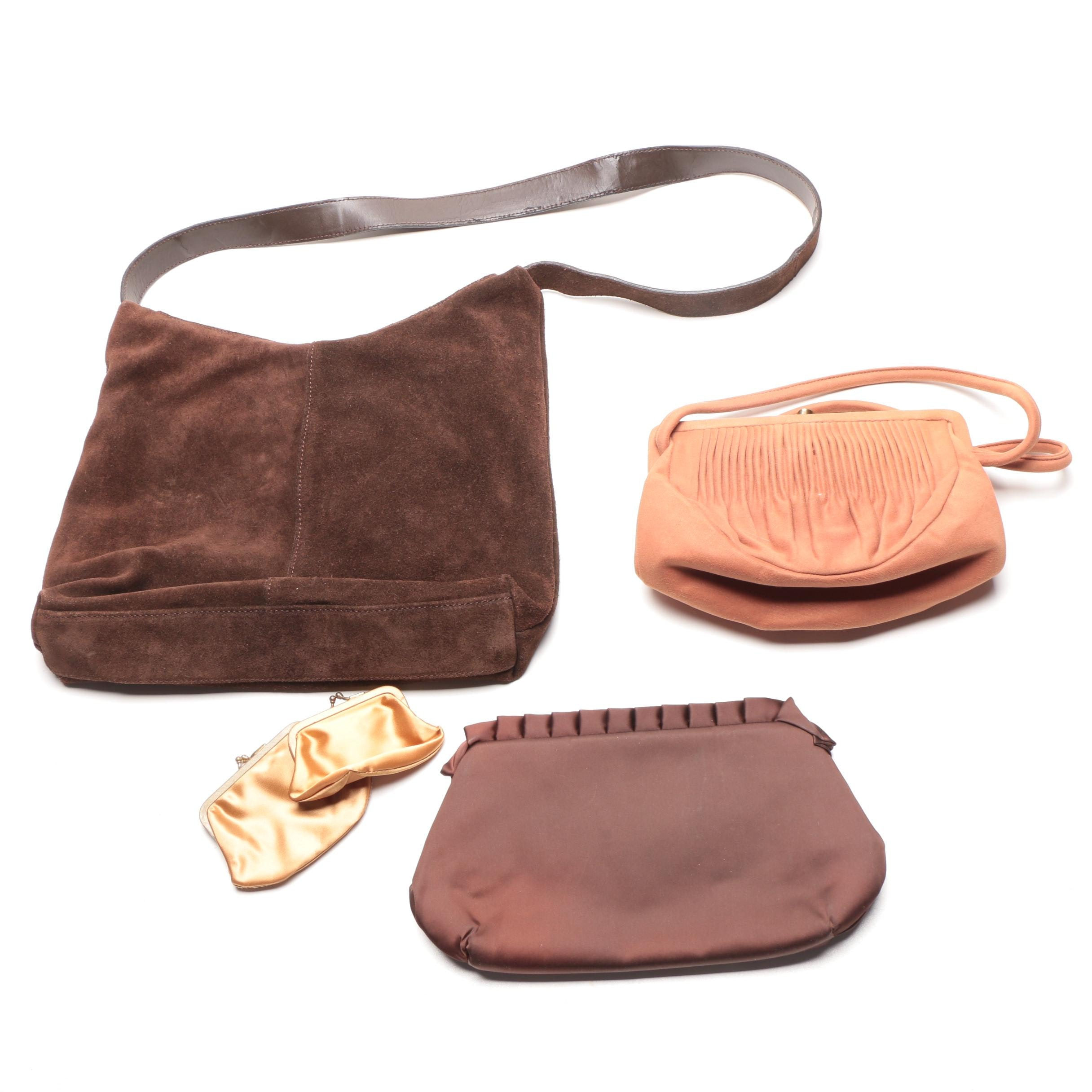 Assortment of Handbags Including Split Calfskin Leather Bag