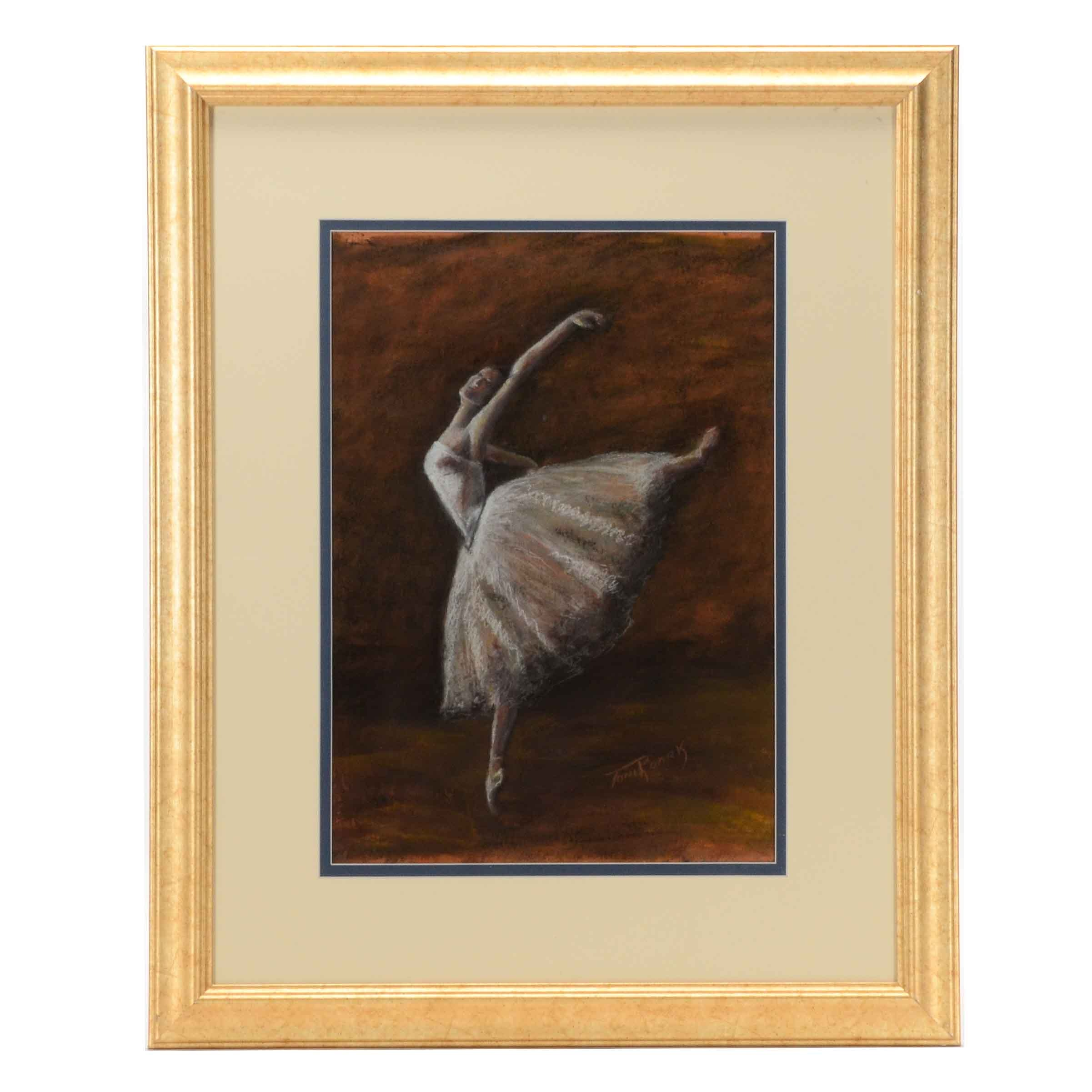 Toni Roark Original Pastel Drawing of Ballerina