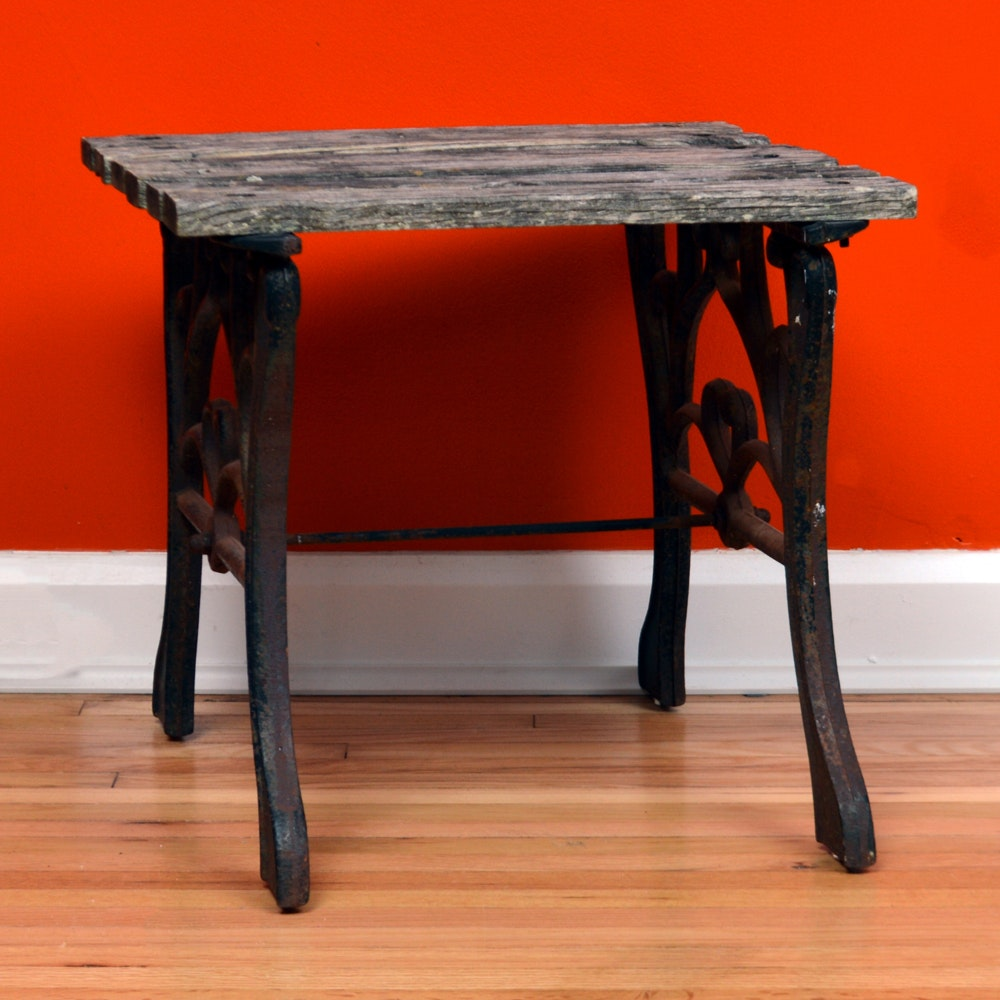 Wrought Iron Distressed Accent Table ...