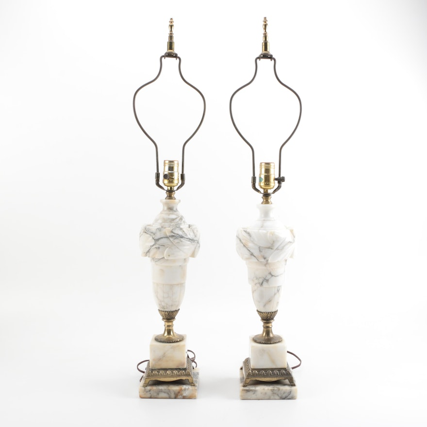 Alabaster and Brass Lamps