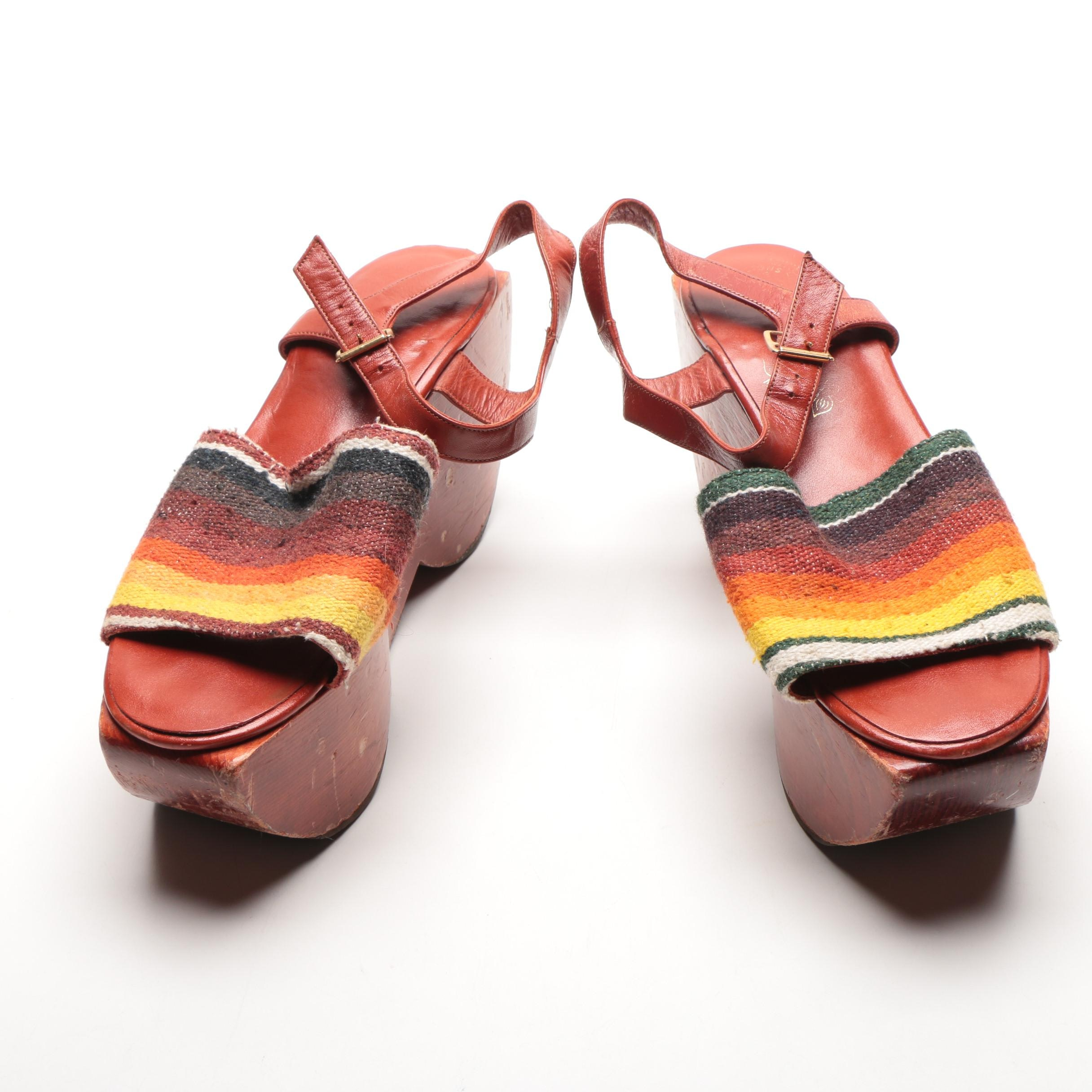 1970s Kloi Klog by Kimmel Wooden Platform Shoes